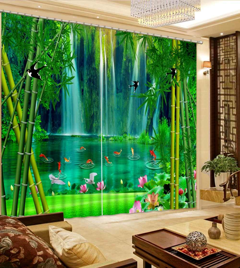 Landscape European 3D Curtains Waterfall bamboo forest 3D Blackout Curtains For Bedroom Fashion Photo Curtains 3D