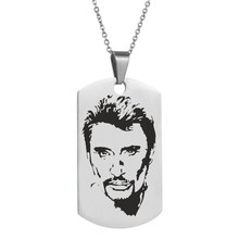 Personalized engrave punk rock Johnny Hallyday photo Necklace custom stainless steel Chain pendant female male bijoux femme(China)