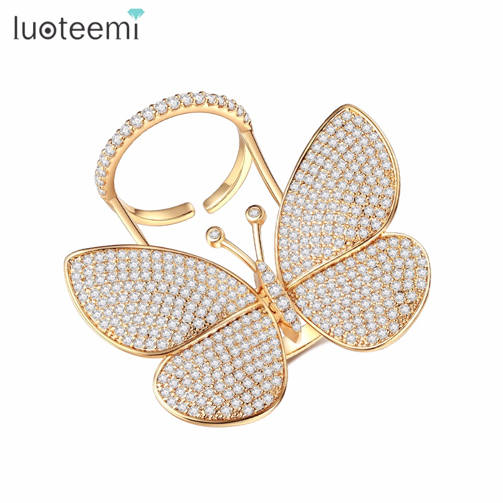 LUOTEEMI New Arrival Vintage Punk Personalized European Style Exaggerated CZ Micro Paved Butterfly Ring For Women Trendy Rings punk style exaggerated square hollow out conjoined ring cuff bracelet for women
