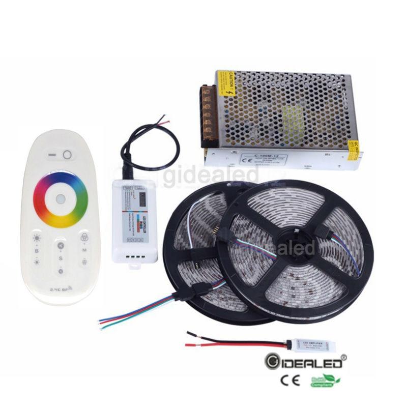 Bezmaksas piegāde Ūdensnecaurlaidīga RGB5050 vadīta lente 5m / 10m / 15m / 20m RGB joslai + 2.4G RF tālvadības pults + pastiprinātājs + barošanas avots