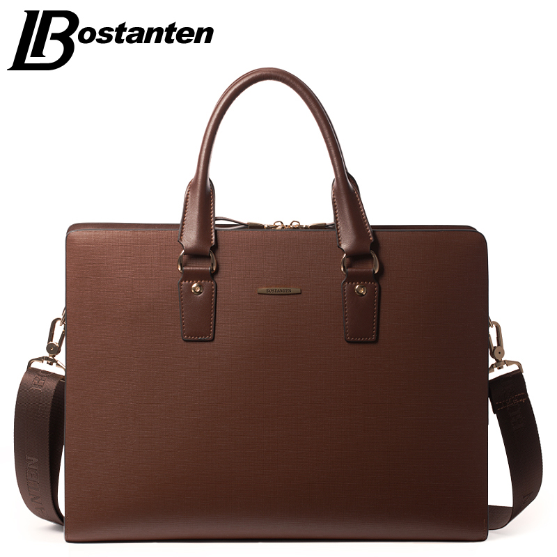 BOSTANTEN New LEATHER Men Bag Leisure Men's Bag Business Messenger Bags Portable Briefcase Laptop Purse 14 Inch  Handbag Brand