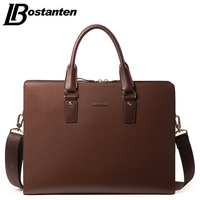 Bostanten GENUINE LEATHER Men Bag Cowhide Leisure Men S Bag Business Messenger Bags Portable Briefcase Laptop