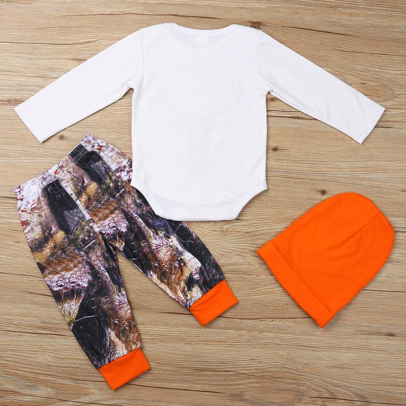 3pcs/set Baby Clothing Set Newborn Boy Girl Deer Print Long Sleeve Bodysuit+Printing Pants+Hat Fashion Autumn Infant Outfits Set