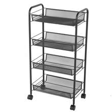 4 Tiers Rolling Wheels Kitchen Metal Trolley Cart Beauty Hair Salon Storage Rack Black for Beauty Salons and Hair Salons(China)