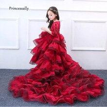 결혼식을위한 기차와 함께 새로운 럭셔리 플라워 걸스 드레스 미인 대회 드레스 첫 번째 성령 성 찬 식 드레스 어린이 파티 드레스