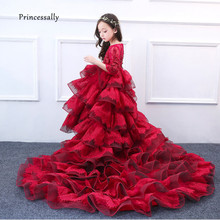 New luxury flower girls dresses With Train For Wedding Kids Pageant Dress First Holy Communion Dresses Child Party Dress