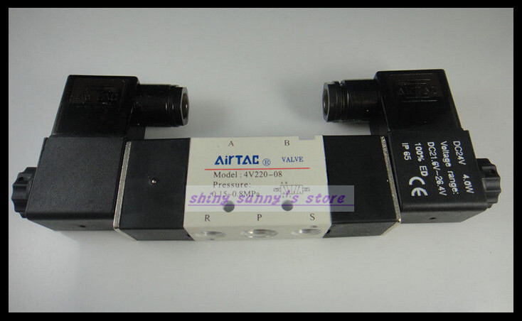 1Pcs 4V220-08 DC24V 2Position 5Way Solenoid Pneumatic Air Valve Brand New 1pcs 4v310 10 dc24v 5way 2 position single solenoid pneumatic air valve 3 8 bspt brand new