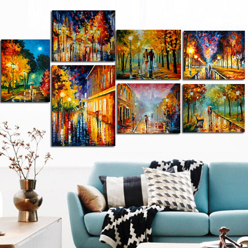 HD Print Wall Pop Art Romance Couple Rain Day Street Landscape Poster Oil Painting on Canvas Modern Wall Picture For Living Room