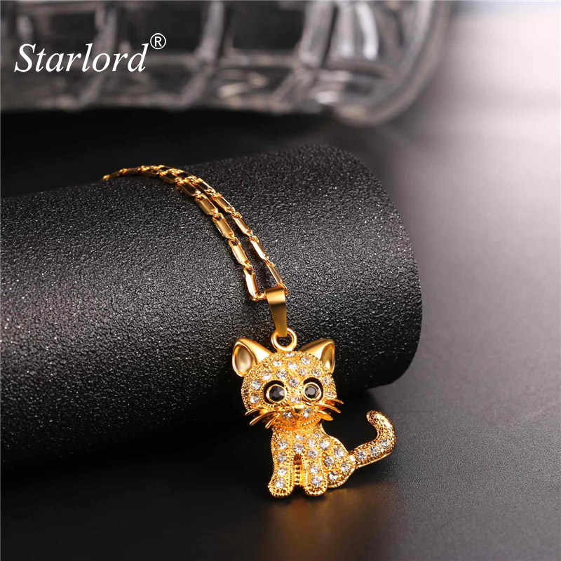 Strass Cute Cat Collana Alla Moda di Colore Dell'oro Della Catena A maglia Per Le Donne Collares Fortunato Pendente Dell'animale Domestico Bijoux Commercio All'ingrosso di trasporto P2453