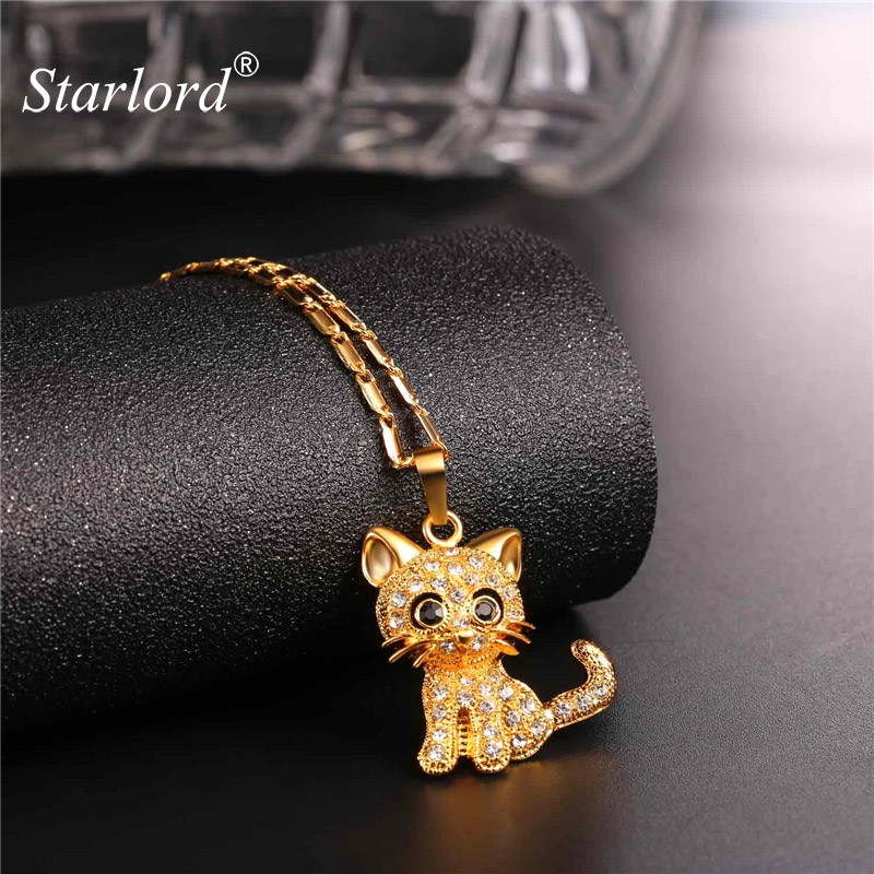 Rhinestone Cute Cat Necklace Trendy Gold Color Link Chain For Women Collares Lucky Pet Pendant Bijoux Wholesale P2453 delicate rhinestone leaf link chain hair band for women