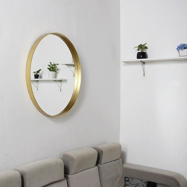 Nordic Bathroom Mirror Wall Mounted Circular Decorative Home Makeup Vanity Lo681013