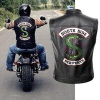 Leisure HIP HOP Riverdale PU Leather Jacket Vest Men Motorcycle Spring Jackets South Side Serpents Punk Black Motorrad Gilet