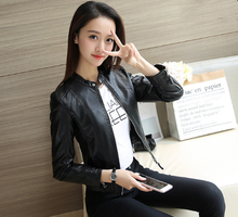 M new Korean version of the casual simple motorcycle leather jacket Slim womens
