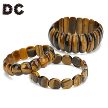 DC 2019 New Elastic Yellow Tiger Eye Stone Beads Charms Bracelets Natural Stone Beaded for Men Women Party Jewelry Gifts bohemian natural stone gravel bracelets for women 2019 new elastic bracelets jewelry tiger eye opal redstone nuggets bracelets