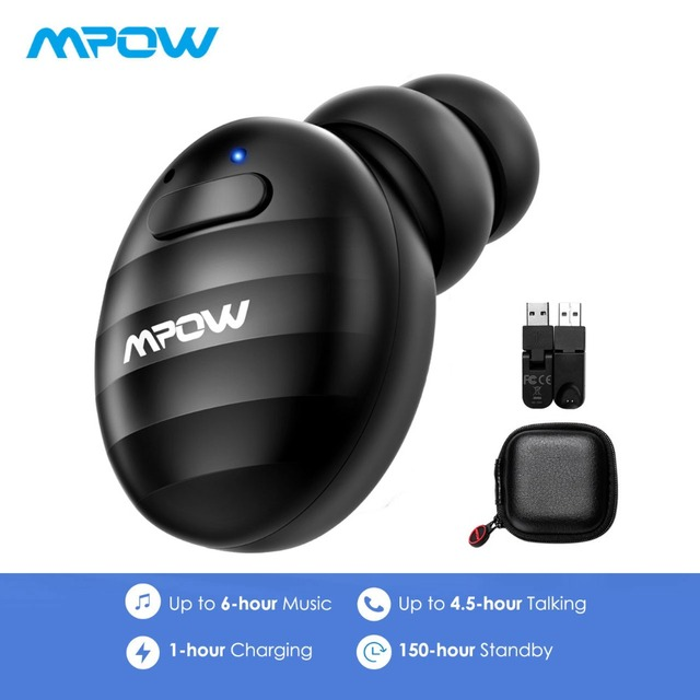 1fb8ddcc755 Mpow EM6 Mini V4.1+EDR Single Bluetooth Earphone 6H Playtime Soft Earbud  For Driver Wireless Earphone With Mic&Carrying Case