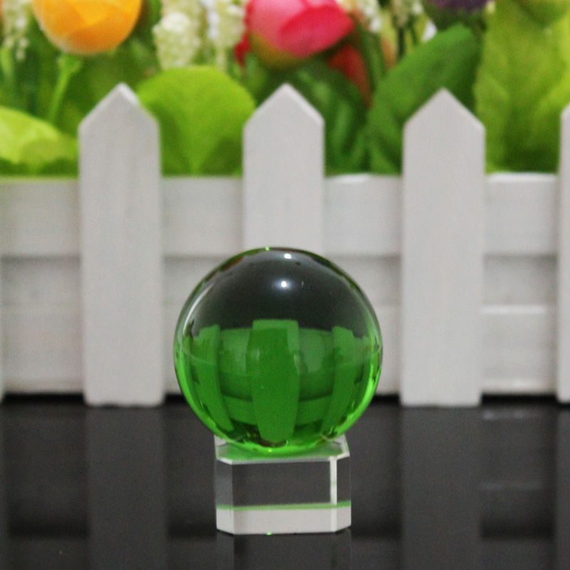 JQJ Crystal Glass marbles Ball Feng shui Home Desk Ornaments Crystals Magic Sphere Terarium Decorative Glass bauble Ball Crafts