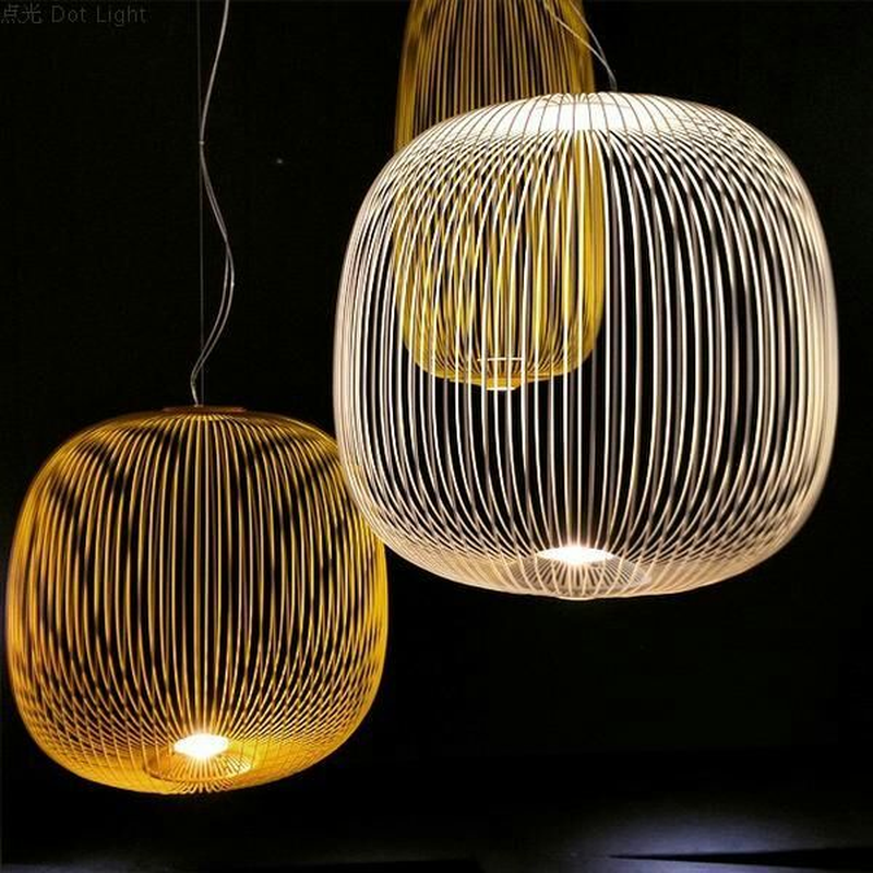 Modern Foscarini Spokes 1/2 Pendant Lights Led Hanging Lamp Industrial Cage Suspension Home Decor Living Room Lighting FixturesModern Foscarini Spokes 1/2 Pendant Lights Led Hanging Lamp Industrial Cage Suspension Home Decor Living Room Lighting Fixtures
