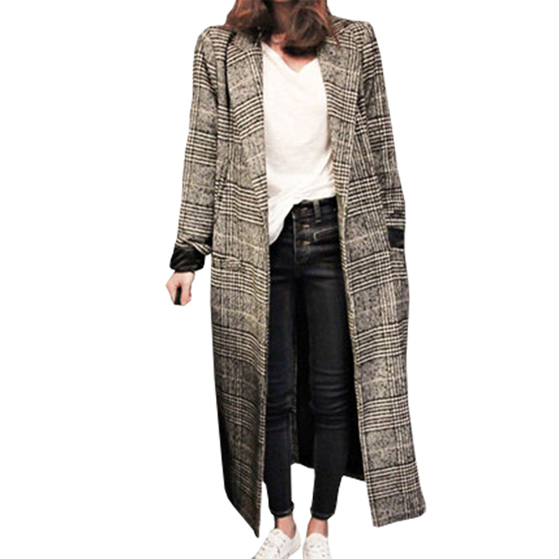 2018 Women Plaid Long Coat Long Sleeve Woollen Overcoat Loose Outwear Female Winter Autumn Trench Coats Plus Size
