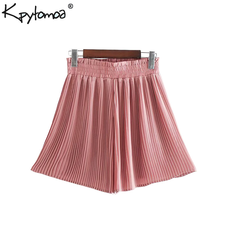 Vintage Chic Solid Pleated   Shorts   Women 2019 Fashion High Elastic Waist Ruffled Ladies   Short   Pants Casual Pantalones Cortos