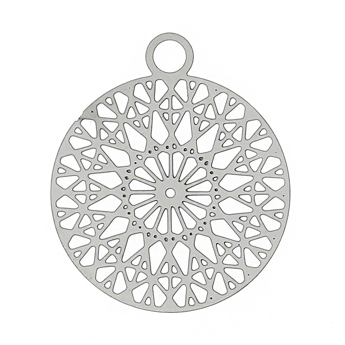 "8SEASONS Stainless Steel Charm Pendants Round Silver Tone Color Hollow Flower 22mm(<font><b>7</b></font>/<font><b>8</b></font>"")<font><b>x</b></font> 18mm(6/<font><b>8</b></font>""),<font><b>20</b></font> PCs"