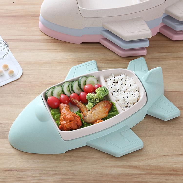 Fibre de bambou créative bébé vaisselle dessin animé avion forme bols couverts plateau ensemble voyage couverts vaisselle cuisine trucs