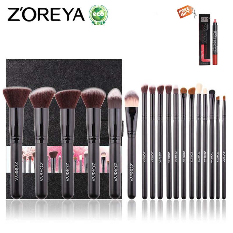 ZOREYA 18PCS Makeup Brushes Professional Make Up Brushes Kits Cosmetic Brush Set Powder Blush Foundation Eyebrow Brush Maquiagem zoreya 9pcs professional portable makeup brushes sets kolinsky hair foundation powder blush make up brush cosmetic tools pinceis