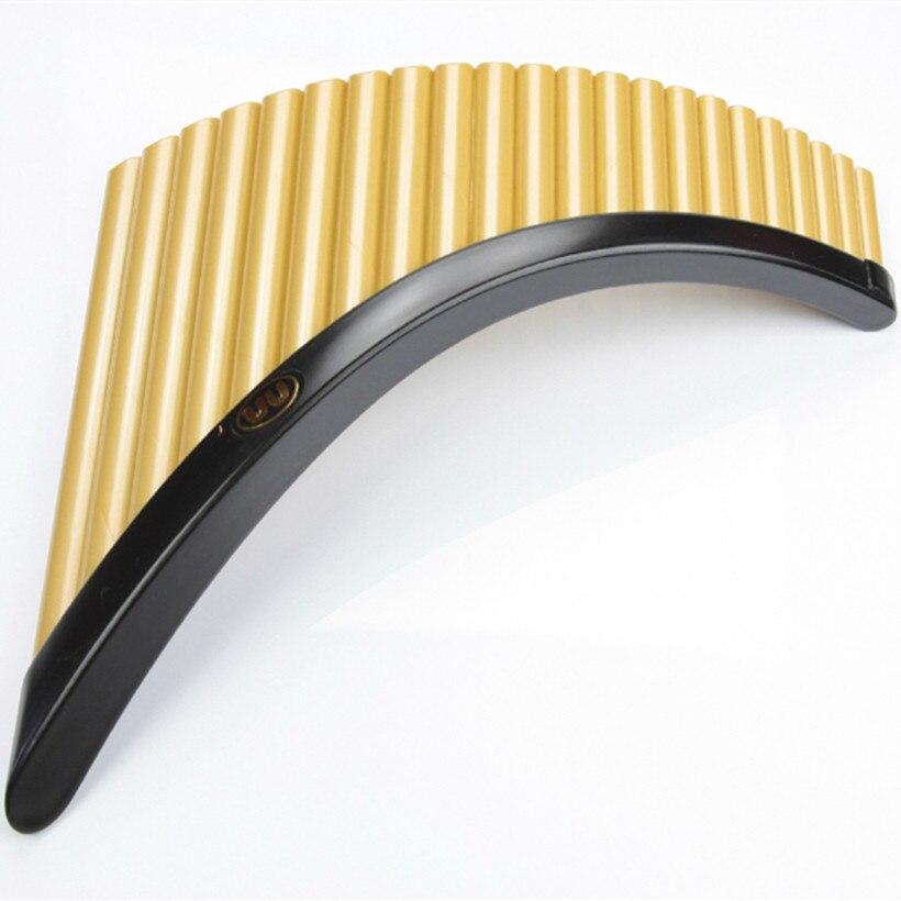 Vente chaude 22 Tuyaux flûte de pan ABS en plastique La Roumanie UU Flûte De Pan G Touche Instrument de Musique Instrumentsr D'or couleur Pan flûte avec Base