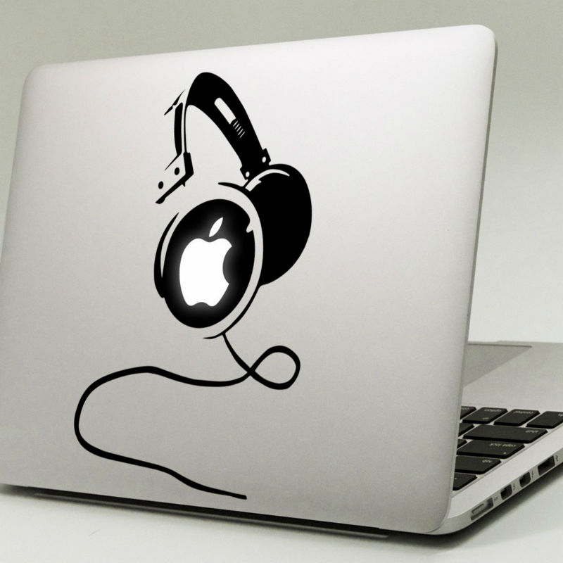 Big Headphones Vinyl Laptop Sticker for Apple MacBook Decal 11