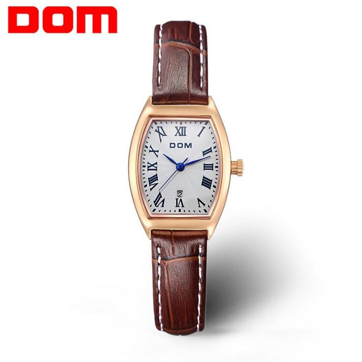 2016 New DOM watch women fashion luxury watches brand Wrist watches casual genuine leather band quartz watch women montre femme