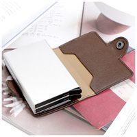 Sıcak Moda FONMOR cüzdan PU deri kart sahibinin kart koruma (Kahverengi)