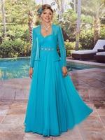 crystal beaded long evening gown 2018 Blue chiffon plus size women vestido de festa mother of the bride dresses with jacket