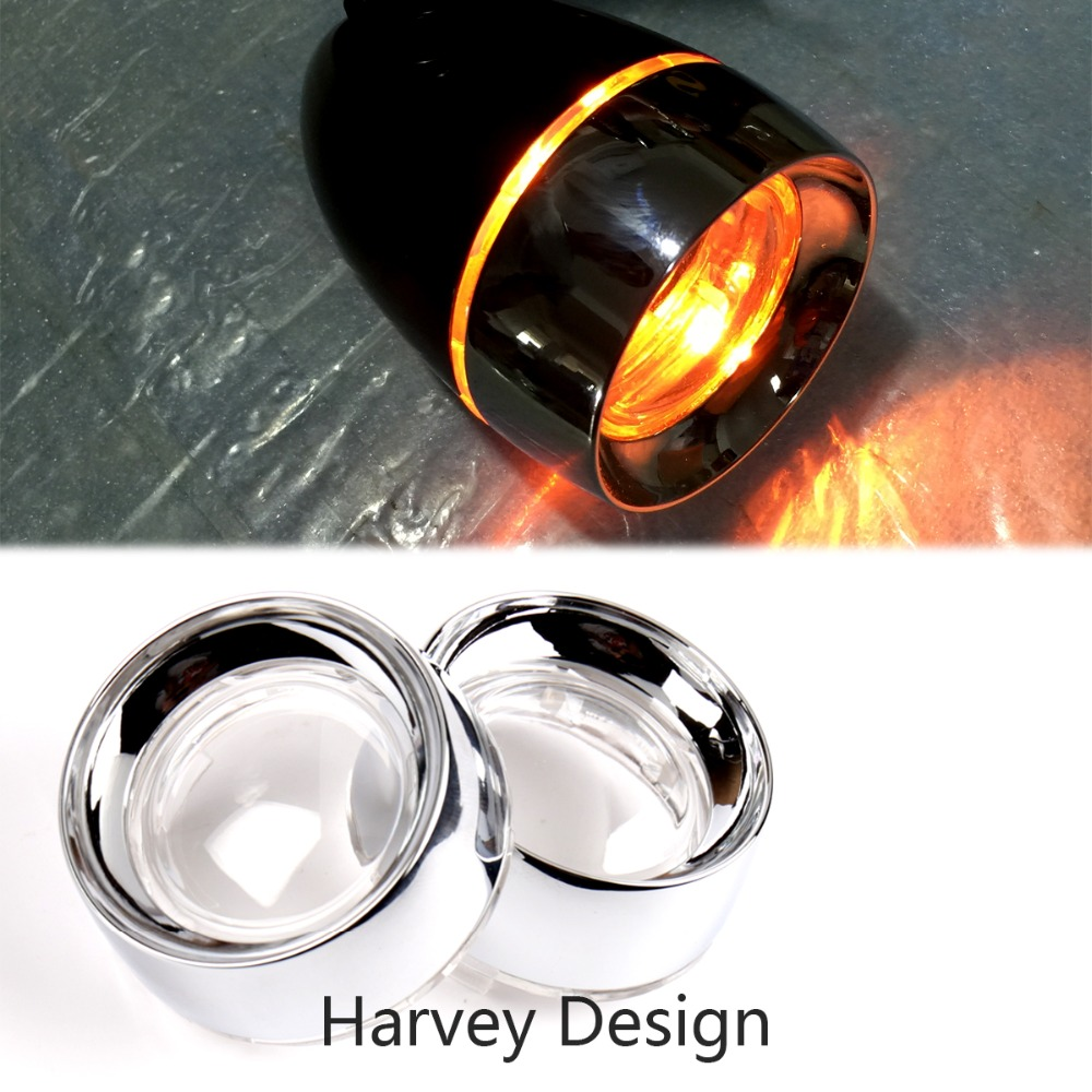 1Pair Clear Turn Signal Lens Chrome Metal Trim Ring Visor For Harley Touring Dyna Sportster Softail motorcycle red chrome front visor trim ring turn signal light for harley xl883 xl1200 parts red lamp