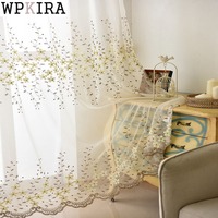Fashion Flower Rustic Curtain Finished Product Window Screening Balcony Modern Window Room Panel Curtain Embroidered Tulle