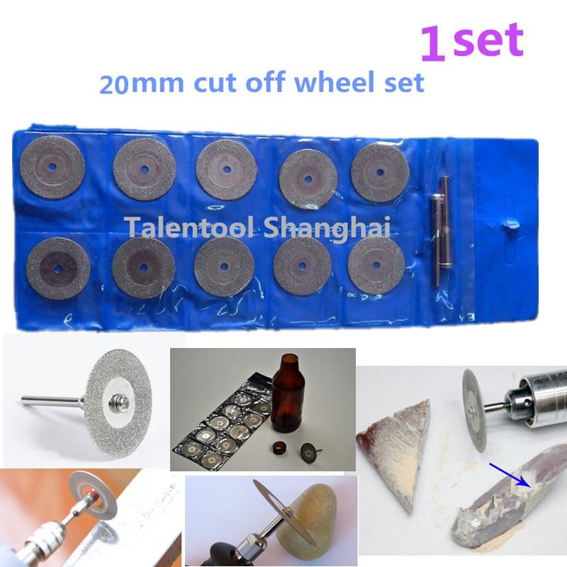 Talentool 10tk / komplekt 20mm teemantkattega lõikeketta pöörleva lõiketera lõikeketas