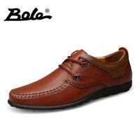 BOLE מעצב חדש מזדמן גברים נעלי עור אמיתי לנשימה הליכה נעלי מוקסינים עבודת יד תחרה עד Comfort דירות גברים