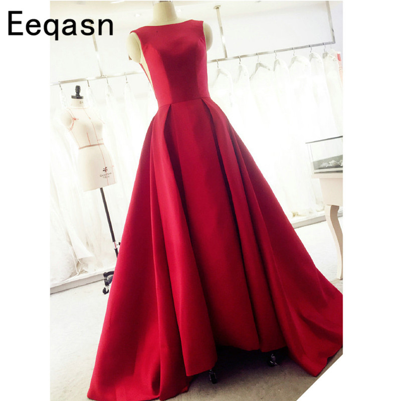 Arabic Red Satin Open Back A Line   Prom     Dresses   2020 Long Sweep Train   Dress   Evening Party Elegant Vestido De Festa Fast Shipping