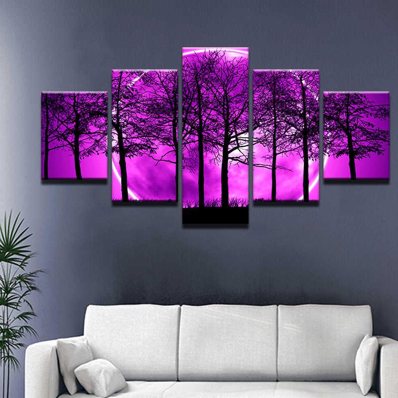 5 sztuk/zestaw krajobraz fioletowy pełni księżyca ziemi z czarny drzewa malowanie na płótnie nowoczesne w nocy z lasu Wall Art do wystroju domu