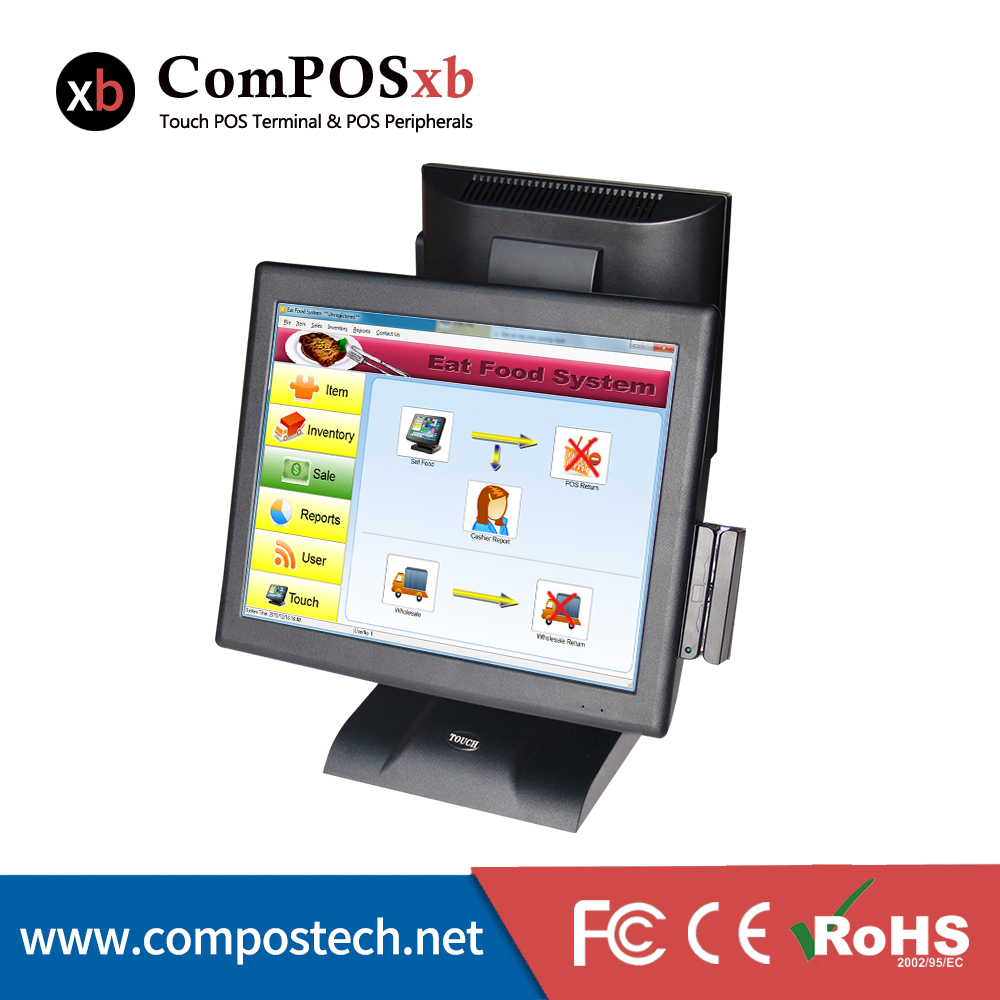 Made In China 15 zoll Touchscreen Dual screen POS System Mit <font><b>12</b></font> zoll Led-bildschirm Und Kartenleser image