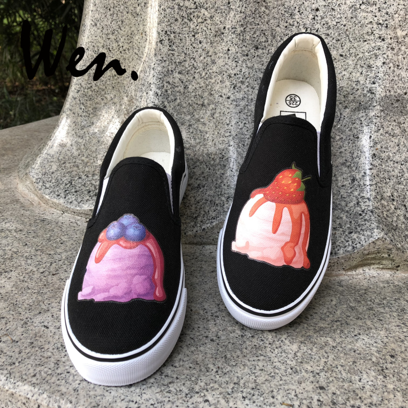 f7ac5e4ff4 Wen Food Design Slip on Shoes Blueberry Strawberry Ice Cream Canvas Sneakers  White Black Flats for Men Women Strapless Plimsolls