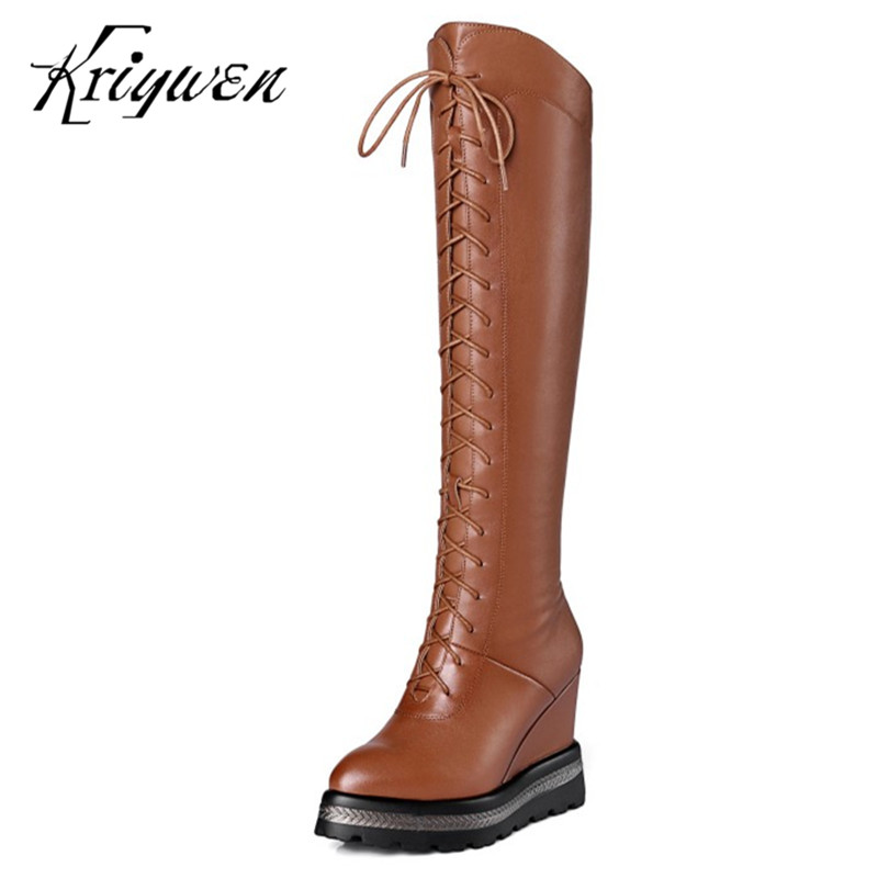 Plus Size 34-42 Western Boots Knee High Boots 100% Cow Genuine Leather Work Brown Motorcycle Extreme High Heels WOMEN BOOTS scoyco motorcycle riding knee protector extreme sports knee pads bycle cycling bike racing tactal skate protective ear