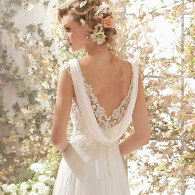 LAMYA Wedding Dress 2019 Beach Bridal Gown Chiffon Lace Appliques Wedding Dresses White/Lvory Backless Vestido De Noiva 5