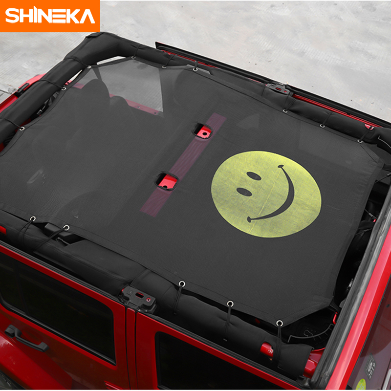 Image 4 - SHINEKA Top Sunshade Mesh Car Cover Roof UV Proof Protection Net for Jeep Wrangler JK 2 Door and 4 Door Car Accessories Styling-in Sunroof, Convertible & Hardtop from Automobiles & Motorcycles