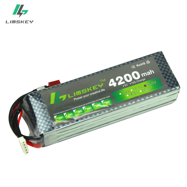 Limskey Power Lipo Battery 14.8V 4200mAh 30C MAX 40C T Plug