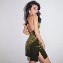 Sexy Temperament Halter Strap Dress Seaside Holiday Velvet Split Vintage Party Vestidos Verano 2019