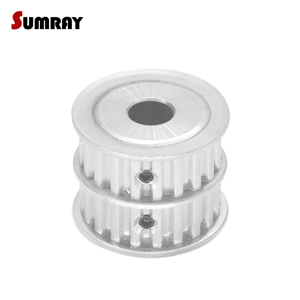 SUMRAY XL 20T Dual Head Timing Pulley 8/10/12mm inner bore 11mm width Combined Toothed Pulley Wheel for CNC Machine все цены