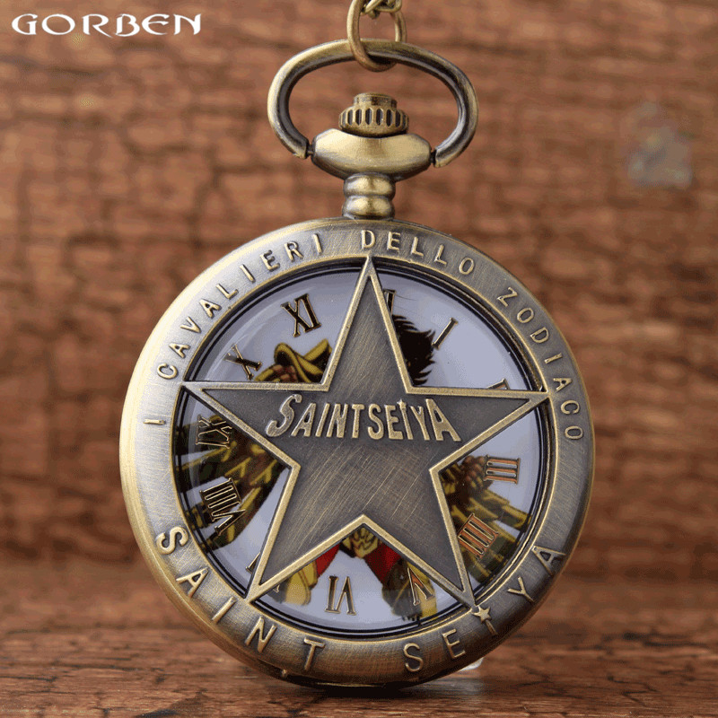 Leo Gold Saint Seiya Design Pocket Watch Hollow Retro Vintage Quartz Pocket Watches With Chain Necklace Fashion Gifts For Kids