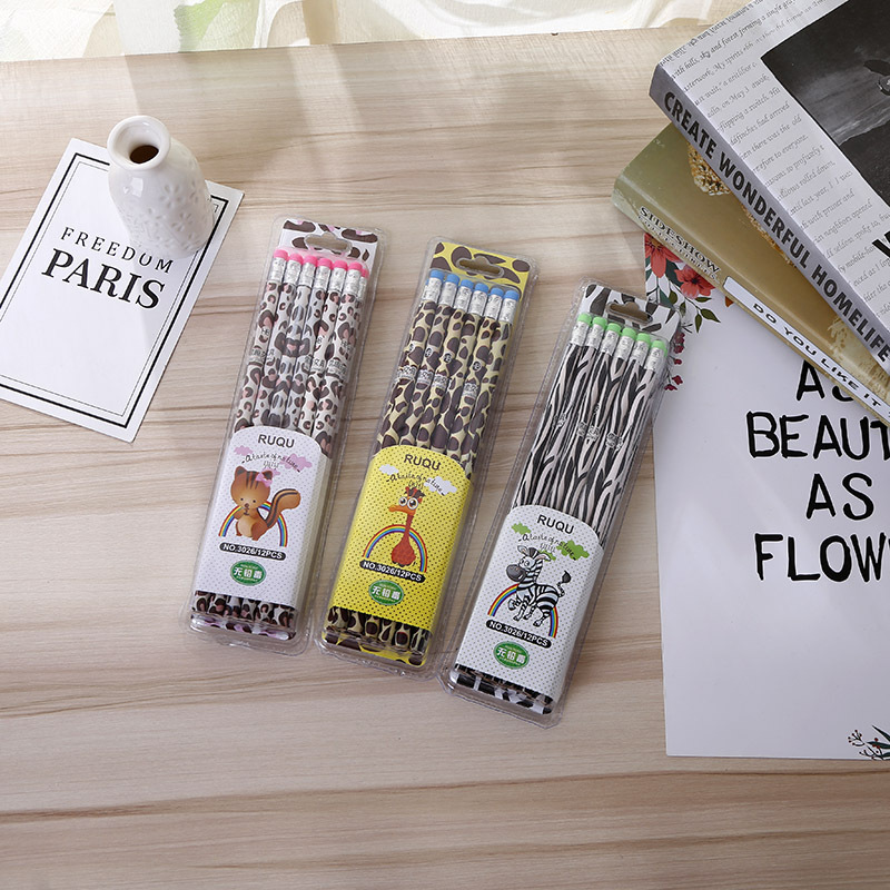 Image 1 - 72pcs kawaii wooden pencil lot creative zebra pattern pencil for school office writing supplies HB standard pencil wholesaleStandard Pencils   -