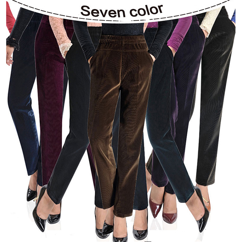 Plus Size 3XL Add Velet Corduroy Pants Women High Quality High Waist Ladies OfficeTrousers Autumn Winter Warm Straight Pants