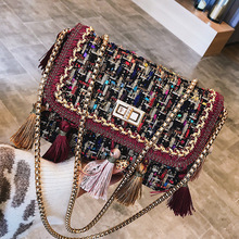 d05cc86c1379f Bohemian Farbigen Quaste Handtasche Frauen Marke Design Exquisite Kette Schulter  Taschen 2018 Damen Wolle Umhängetasche Bolsa
