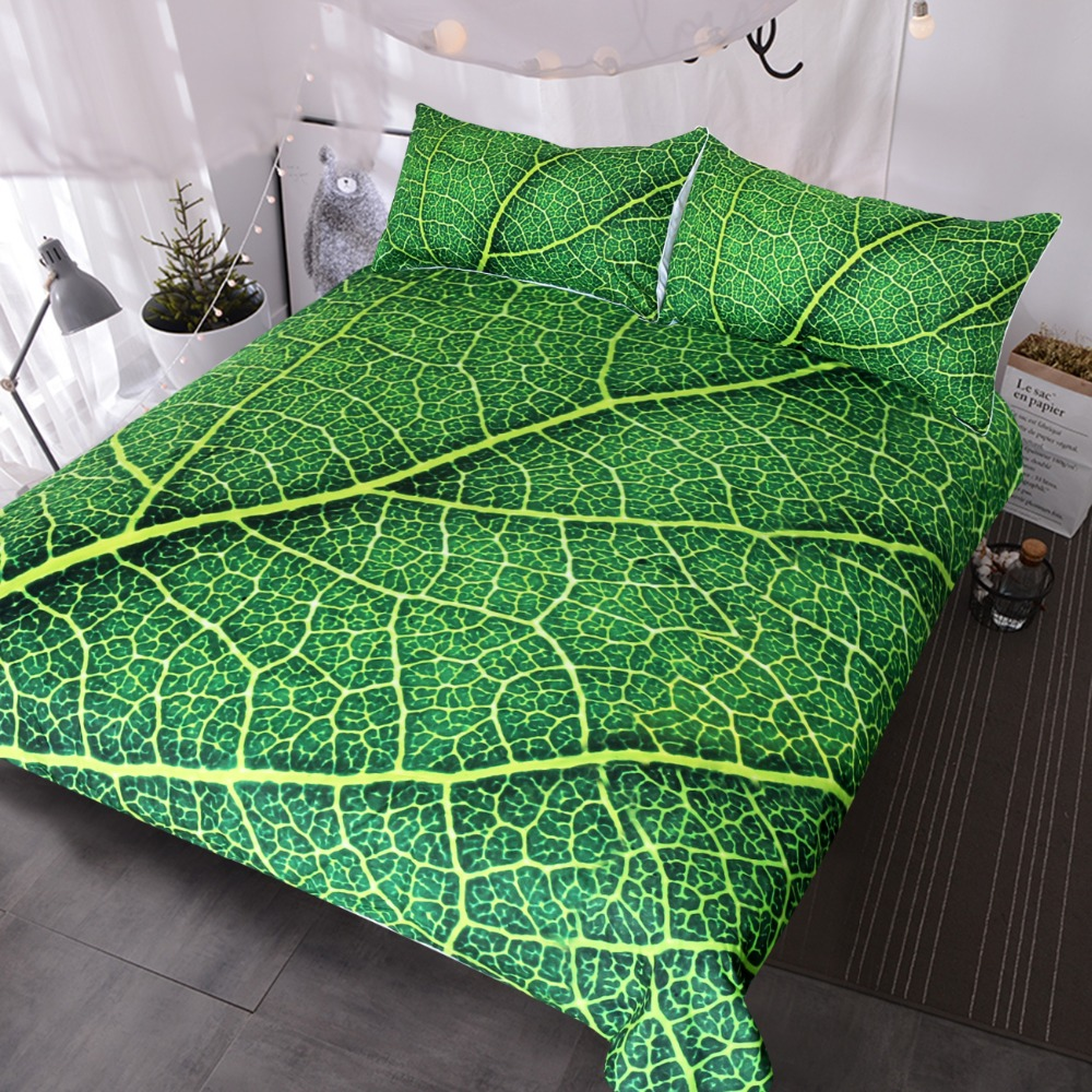 BlessLiving Green Leaf Stems Bedding Set Queen Leaves Texture Duvet Cover Vivid Home Textiles 3-Piece Bedspreads for Adults KidsBlessLiving Green Leaf Stems Bedding Set Queen Leaves Texture Duvet Cover Vivid Home Textiles 3-Piece Bedspreads for Adults Kids